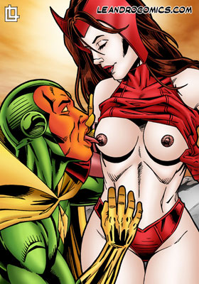 Vision licks Scarlet Witch's sexy nipples